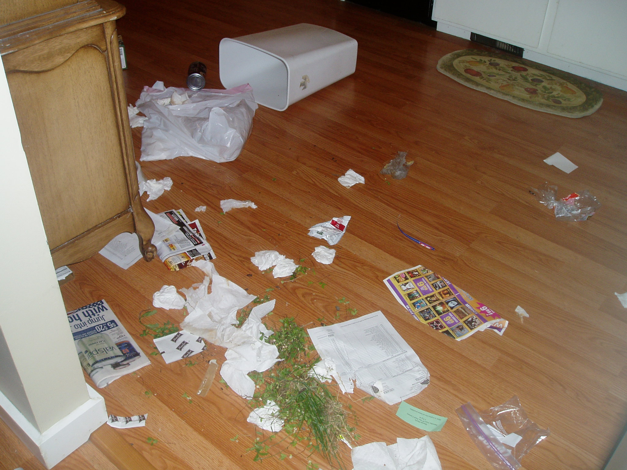 The destruction of Annabelle in the garbage can.