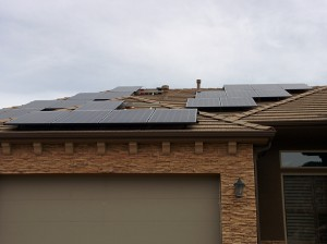 The solar panels on our house mid-installation.